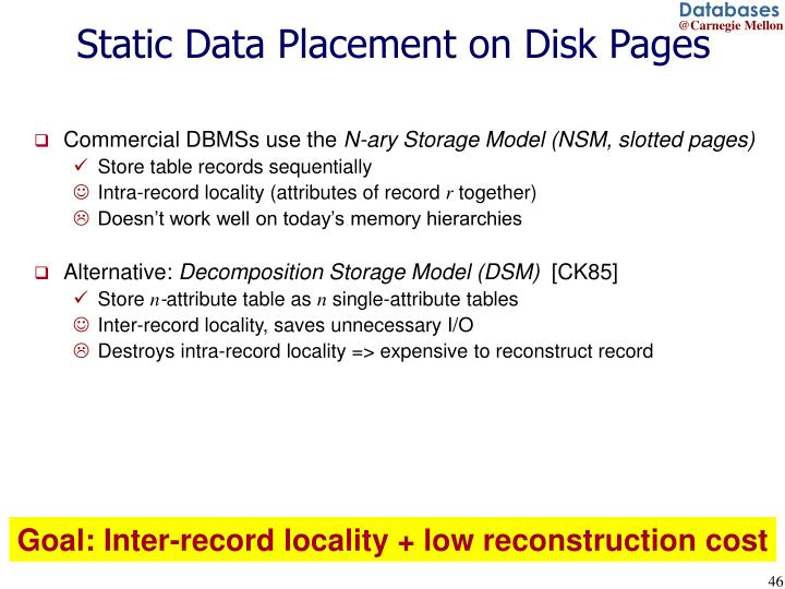 Static Data Placement on Disk Pages