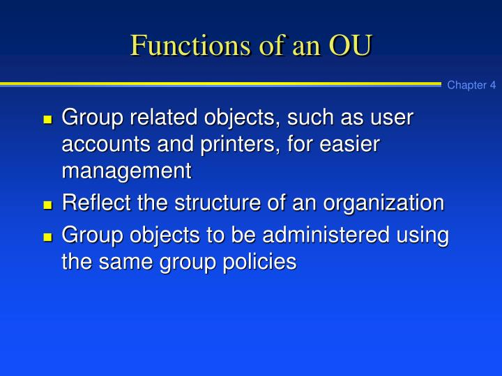 Functions of an OU