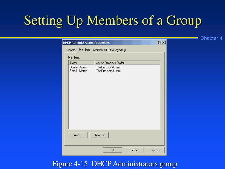 Setting Up Members of a Group