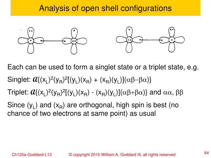 Analysis of open shell configurations