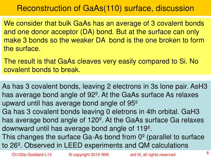 Reconstruction of GaAs(110) surface, discussion