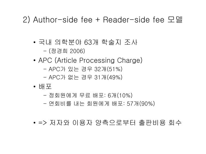 2) Author-side fee + Reader-side fee