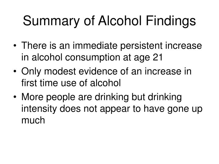 Summary of Alcohol Findings