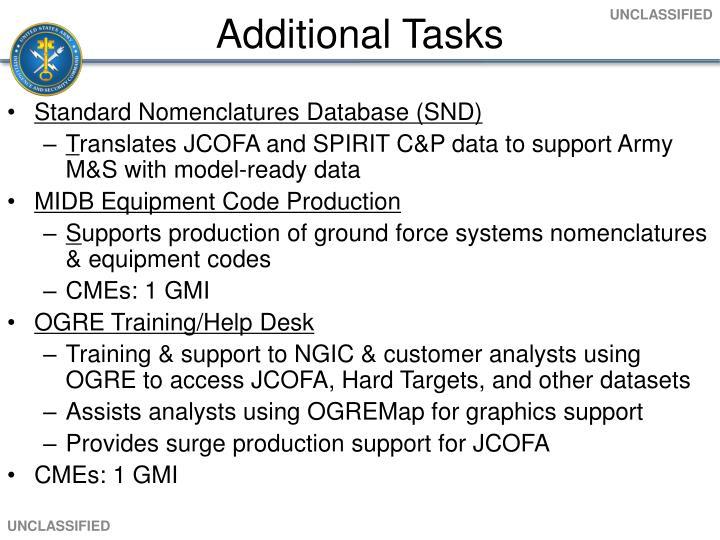 Additional Tasks
