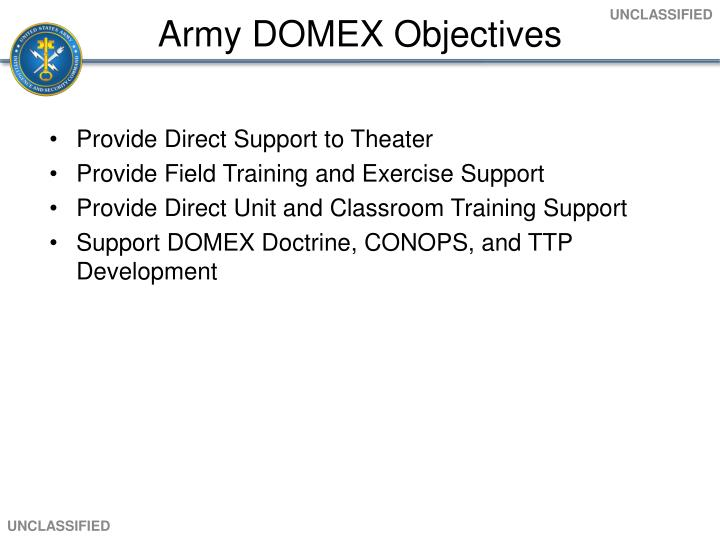 Army DOMEX Objectives