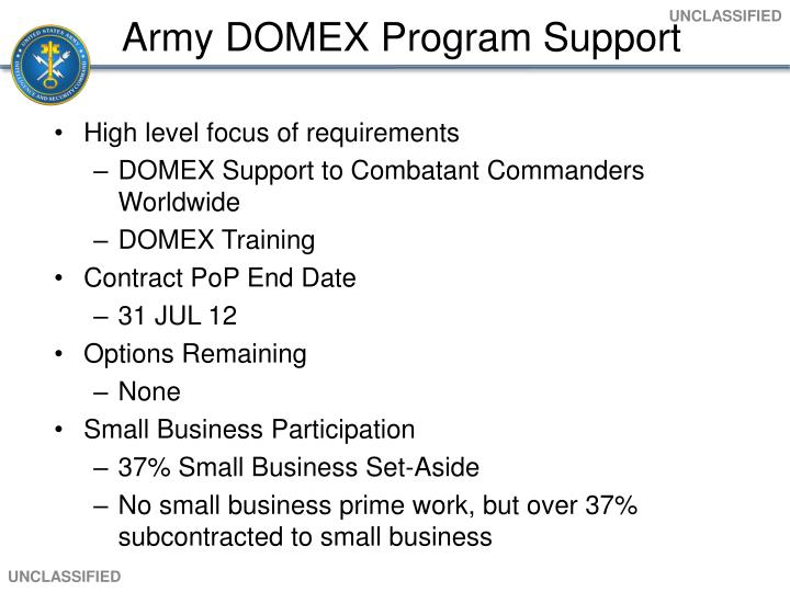 Army DOMEX Program Support