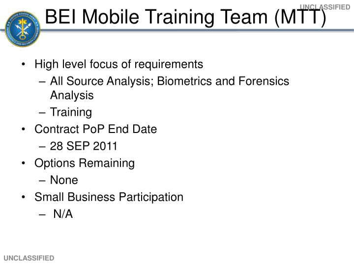 BEI Mobile Training Team (MTT)