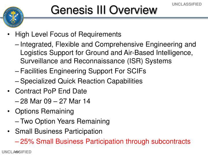 Genesis III Overview