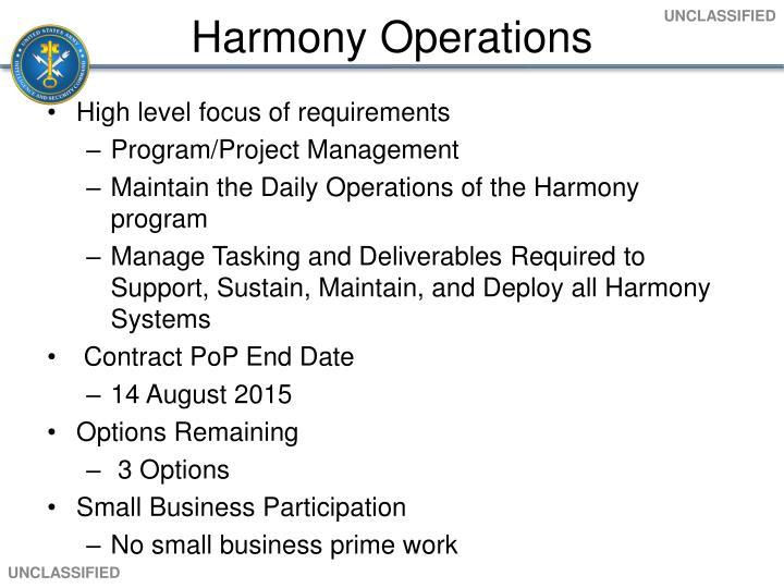 Harmony Operations