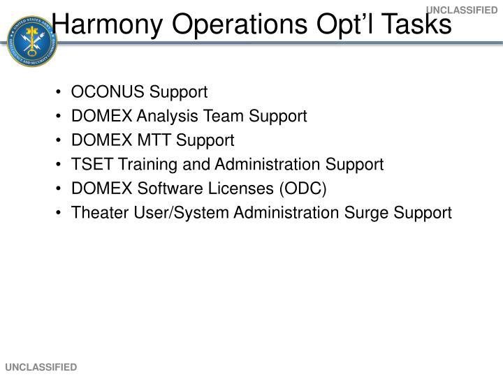 Harmony Operations Opt