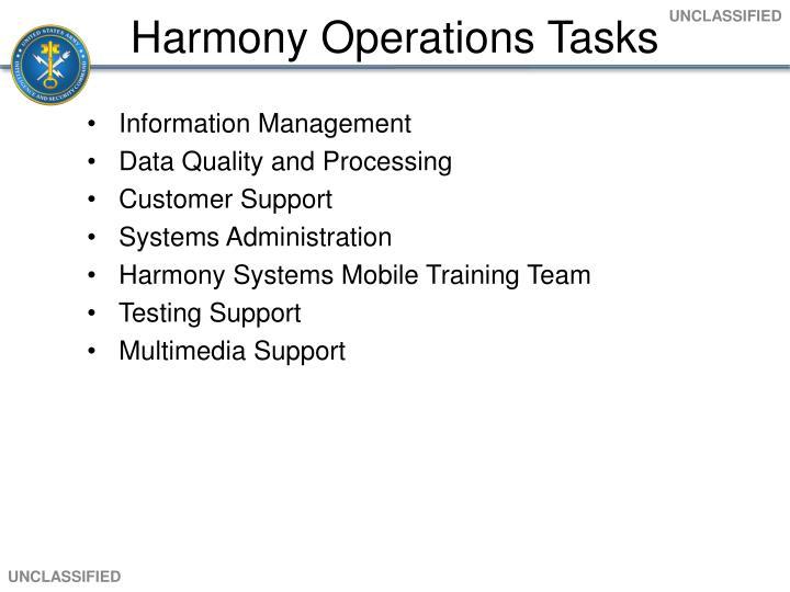 Harmony Operations Tasks