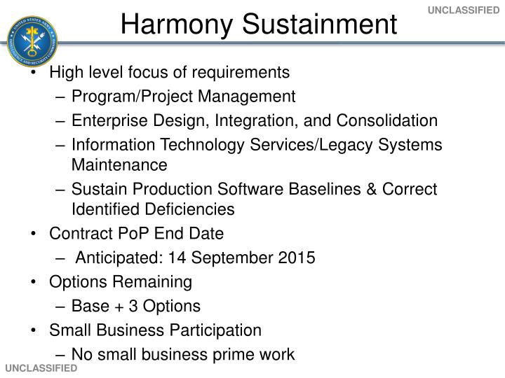 Harmony Sustainment