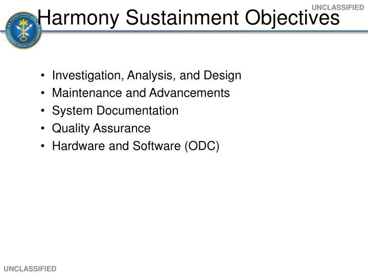 Harmony Sustainment Objectives