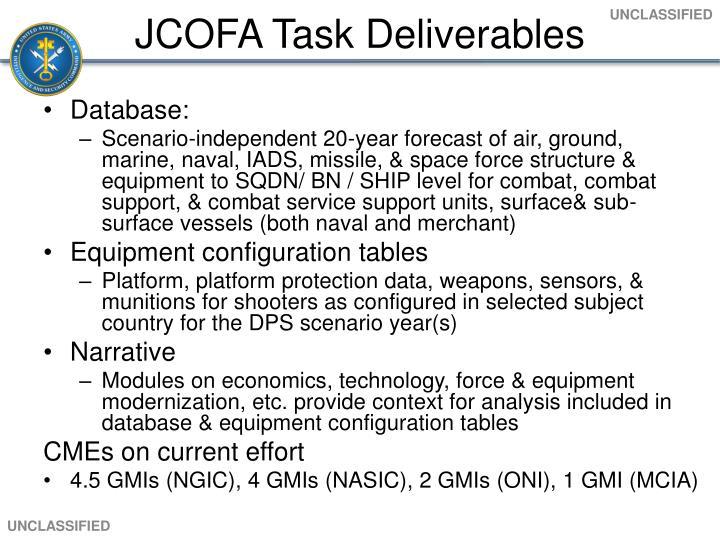 JCOFA Task Deliverables