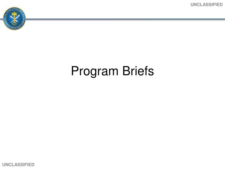 Program Briefs
