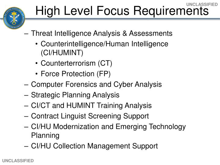 High Level Focus Requirements