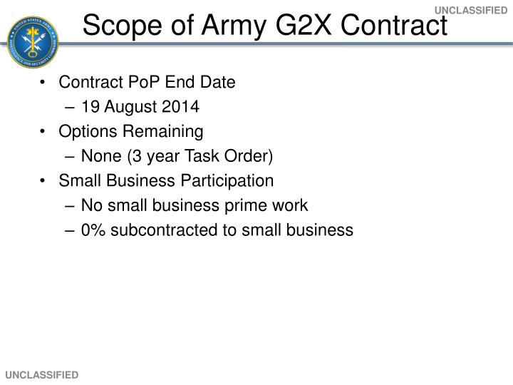 Scope of Army G2X Contract