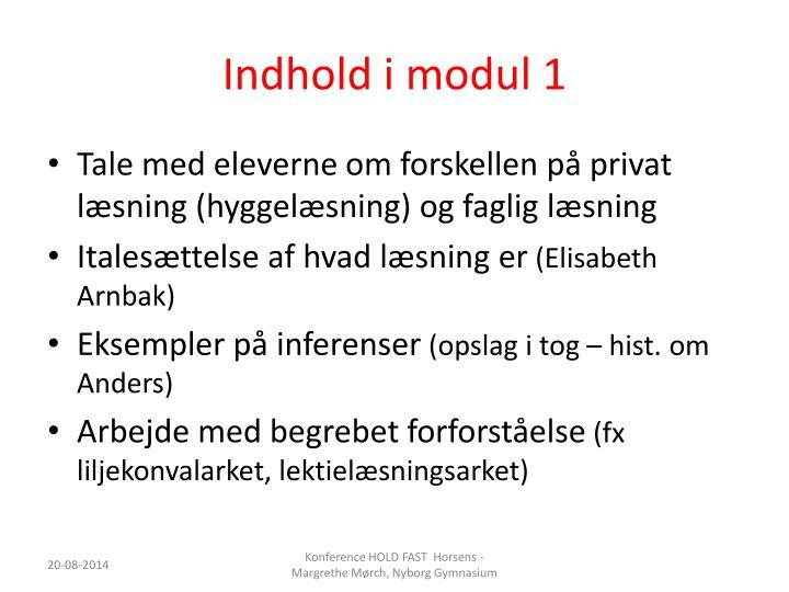 Indhold i modul 1