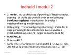indhold i modul 2