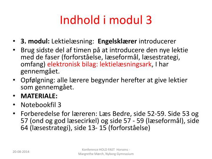 Indhold i modul 3
