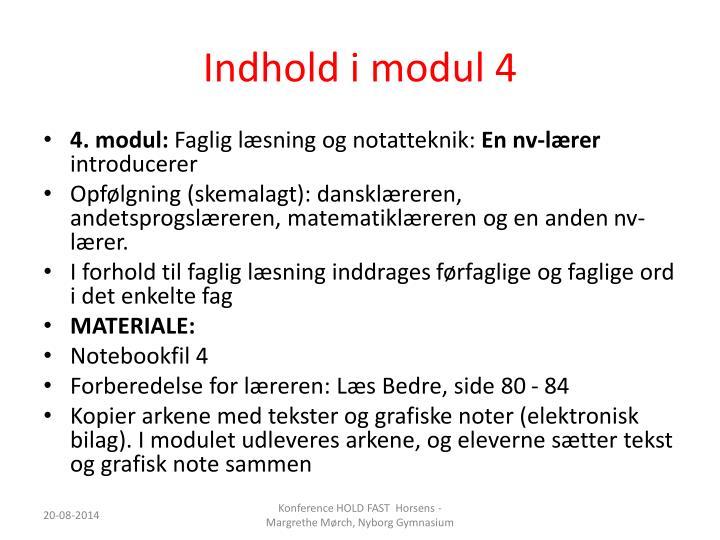 Indhold i modul 4