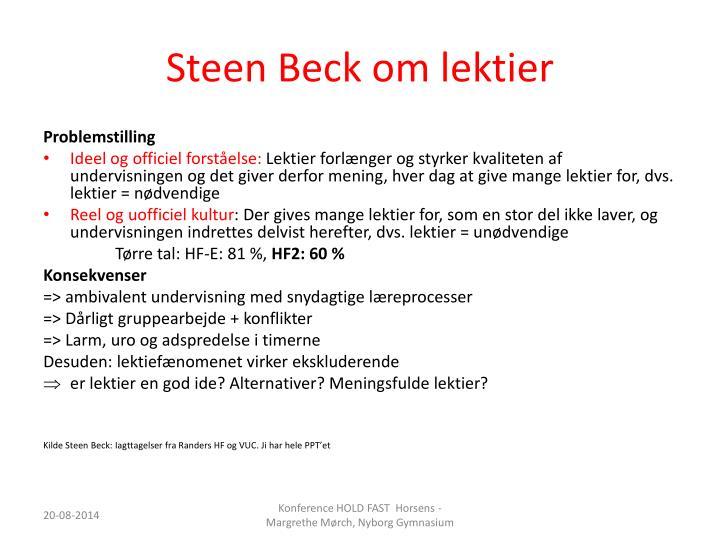 Steen Beck om lektier