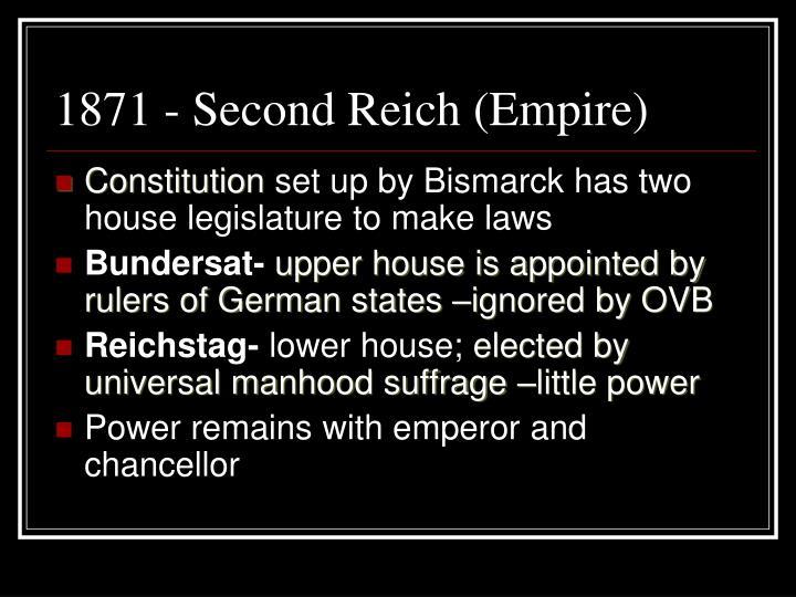1871 - Second Reich (Empire)