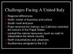 challenges facing a united italy
