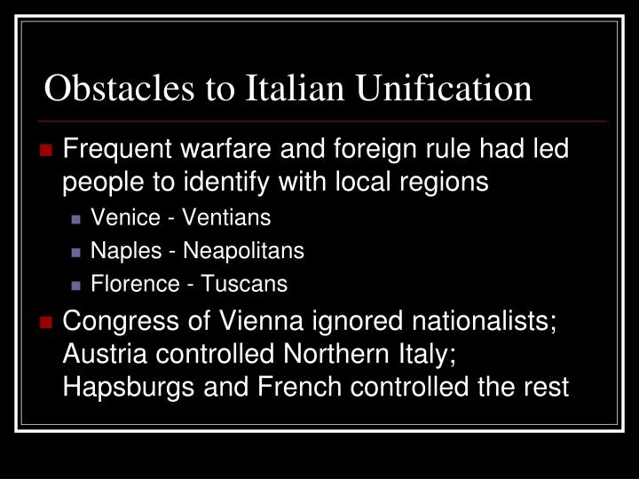 Obstacles to Italian Unification