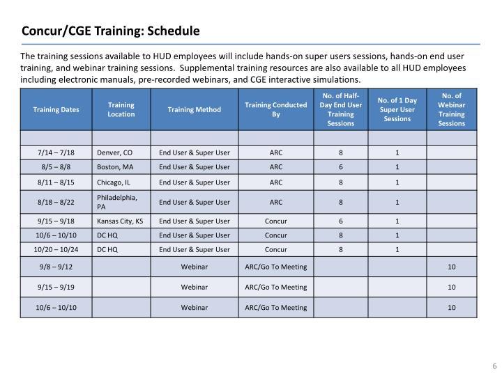 Concur/CGE Training: Schedule