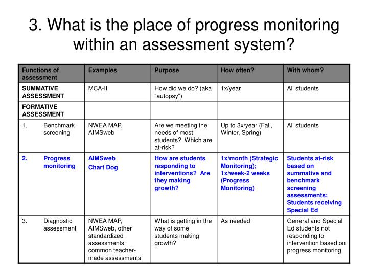 3. What is the place of progress monitoring within an assessment system?
