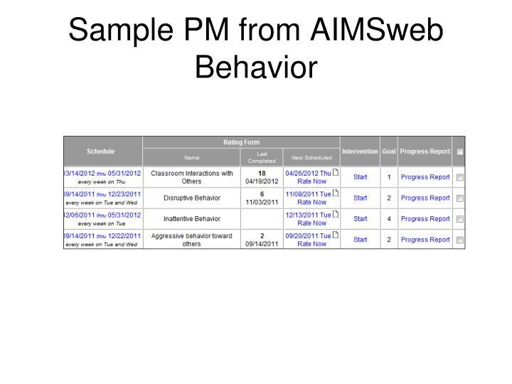 Sample PM from AIMSweb Behavior