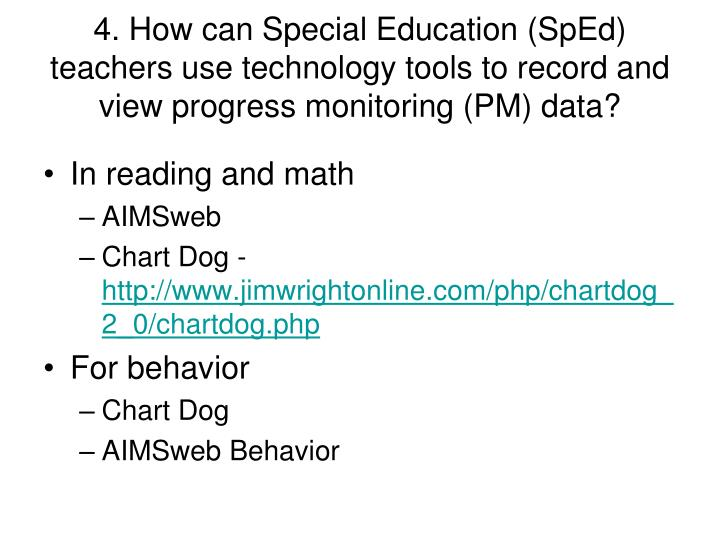 4. How can Special Education (SpEd) teachers use technology tools to record and view progress monitoring (PM) data?