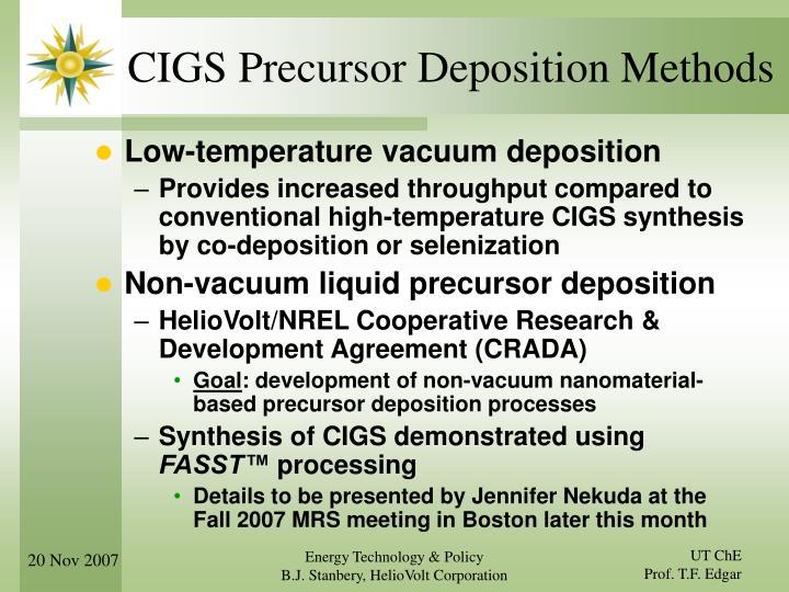 CIGS Precursor Deposition Methods
