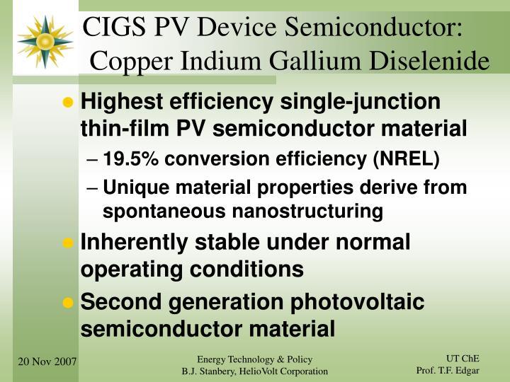 CIGS PV Device Semiconductor: