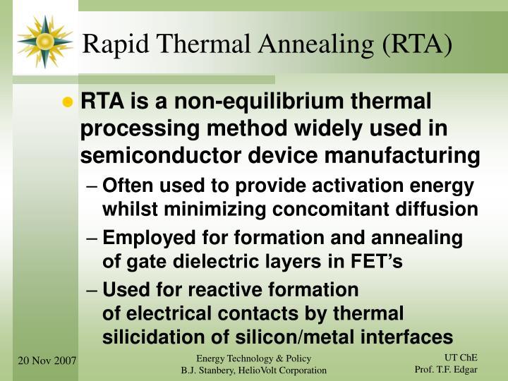 Rapid Thermal Annealing (RTA)