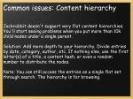 common issues content hierarchy