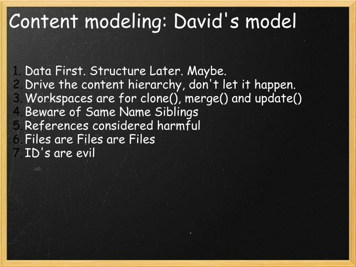 Content modeling: David's model