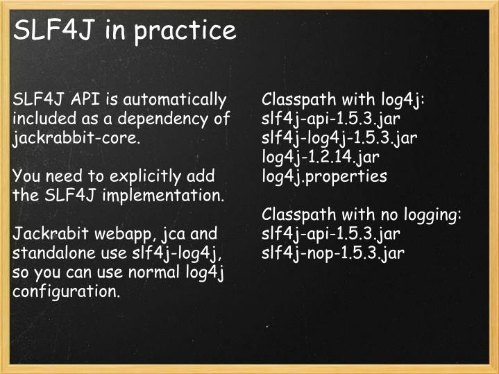 SLF4J API is automatically included as a dependency of jackrabbit-core.
