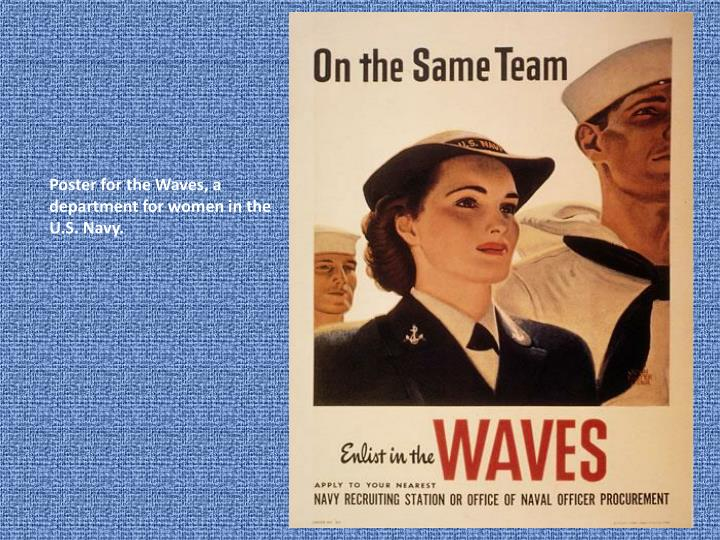 Poster for the Waves, a department for women in the U.S. Navy.