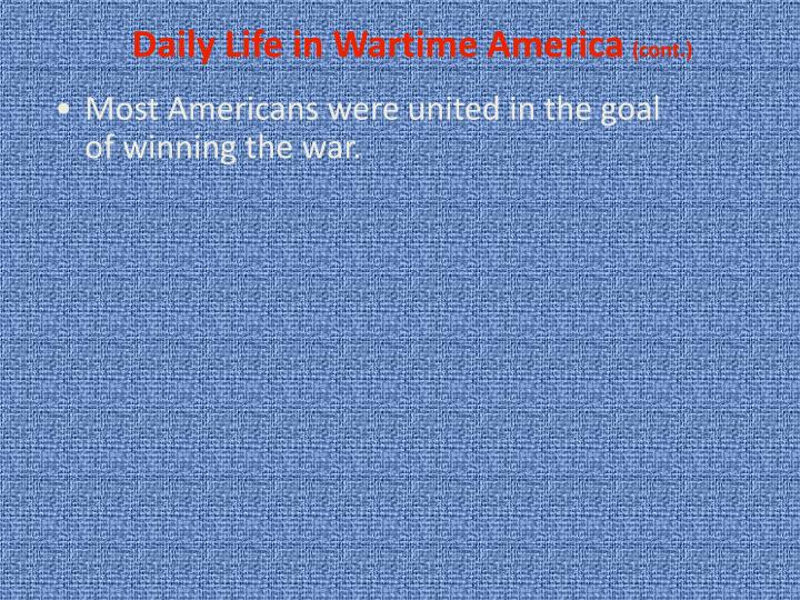 Daily Life in Wartime America