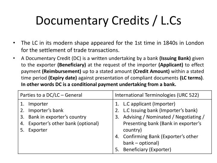 Documentary Credits / L.Cs