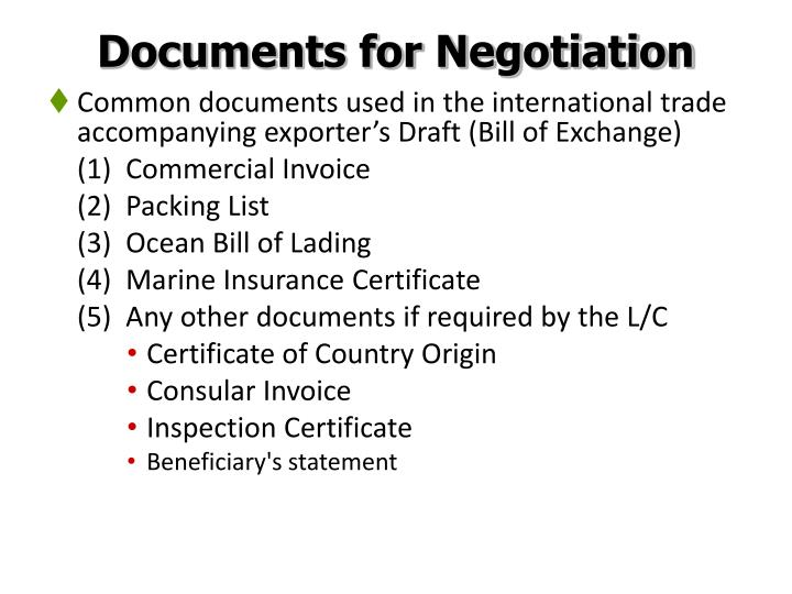 Documents for Negotiation