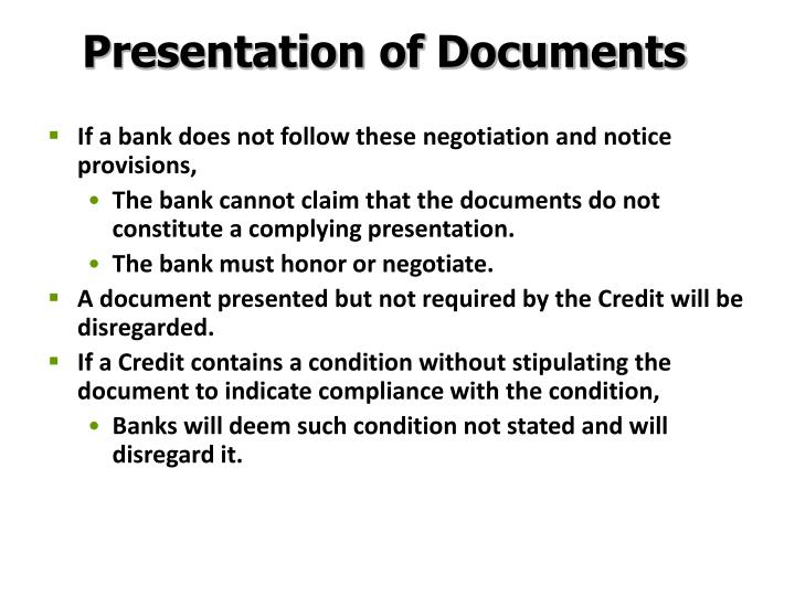 Presentation of Documents