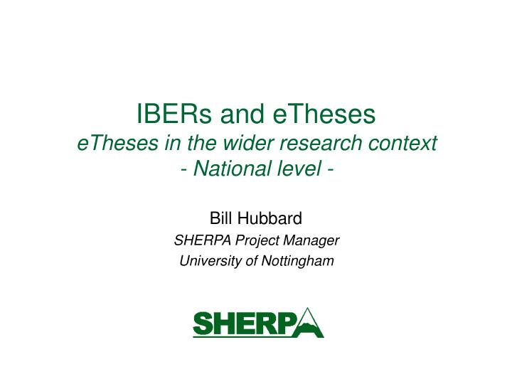 ibers and etheses etheses in the wider research context national level