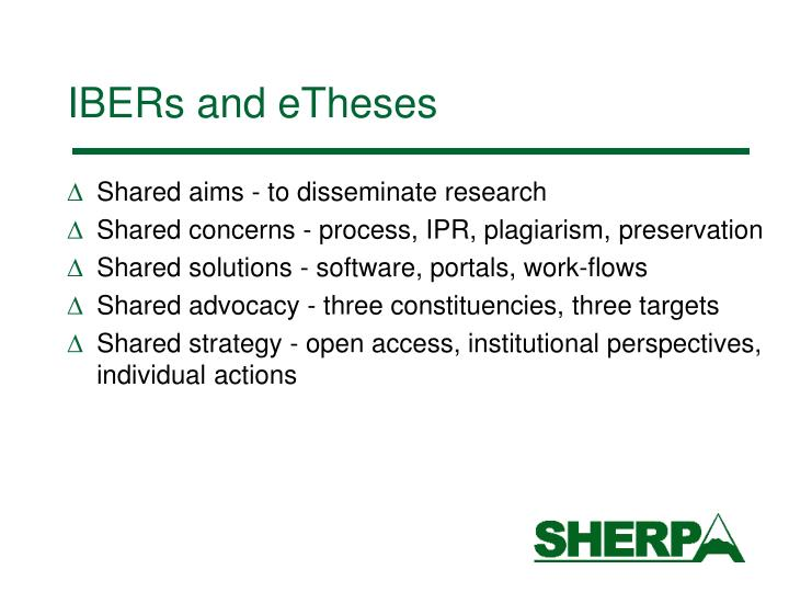 IBERs and eTheses