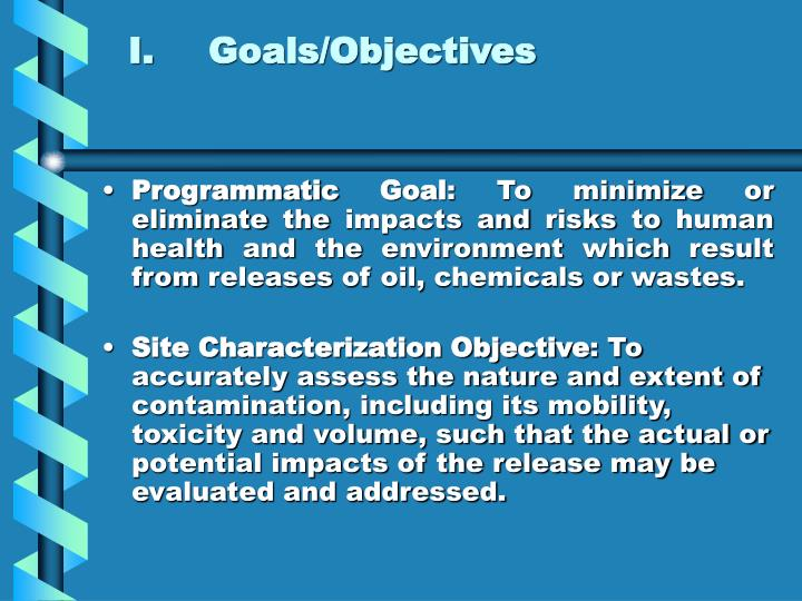 I.Goals/Objectives