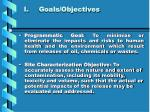 i goals objectives