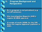 ii program background and perspective