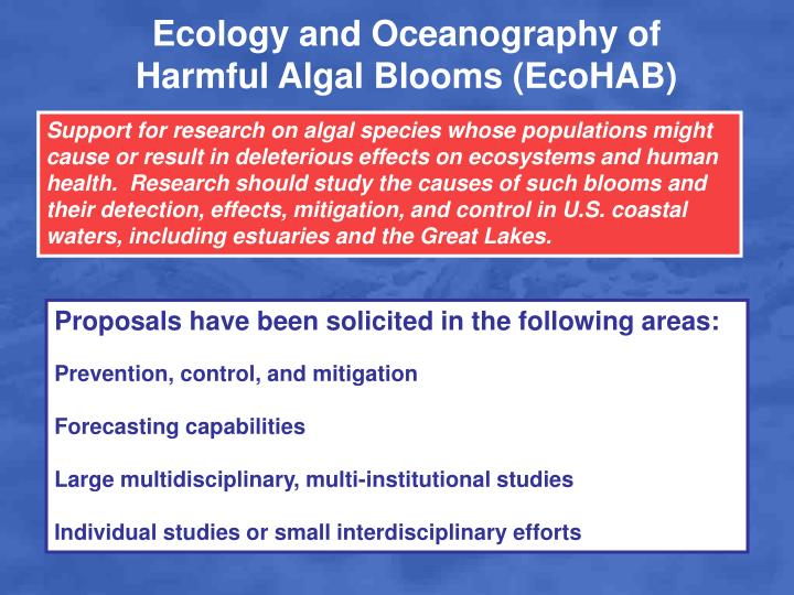 Ecology and Oceanography of Harmful Algal Blooms (EcoHAB)
